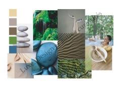 mood board créé dans le cadre d'une recherche de palette de couleurs pour une marque de cosmétiques-soins naturels, souhaitant offrir une expérience d'utilisation à domicile proche de celle d'un spa.